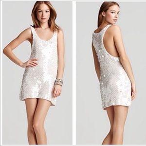 Rebecca Taylor Knit Paillette Mini Tank Dress